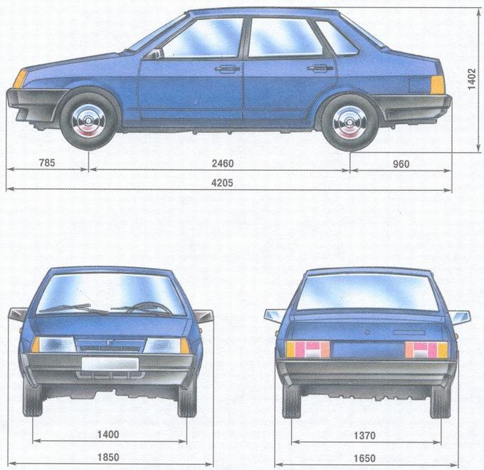 габаритные размеры автомобиля ваз 21099.