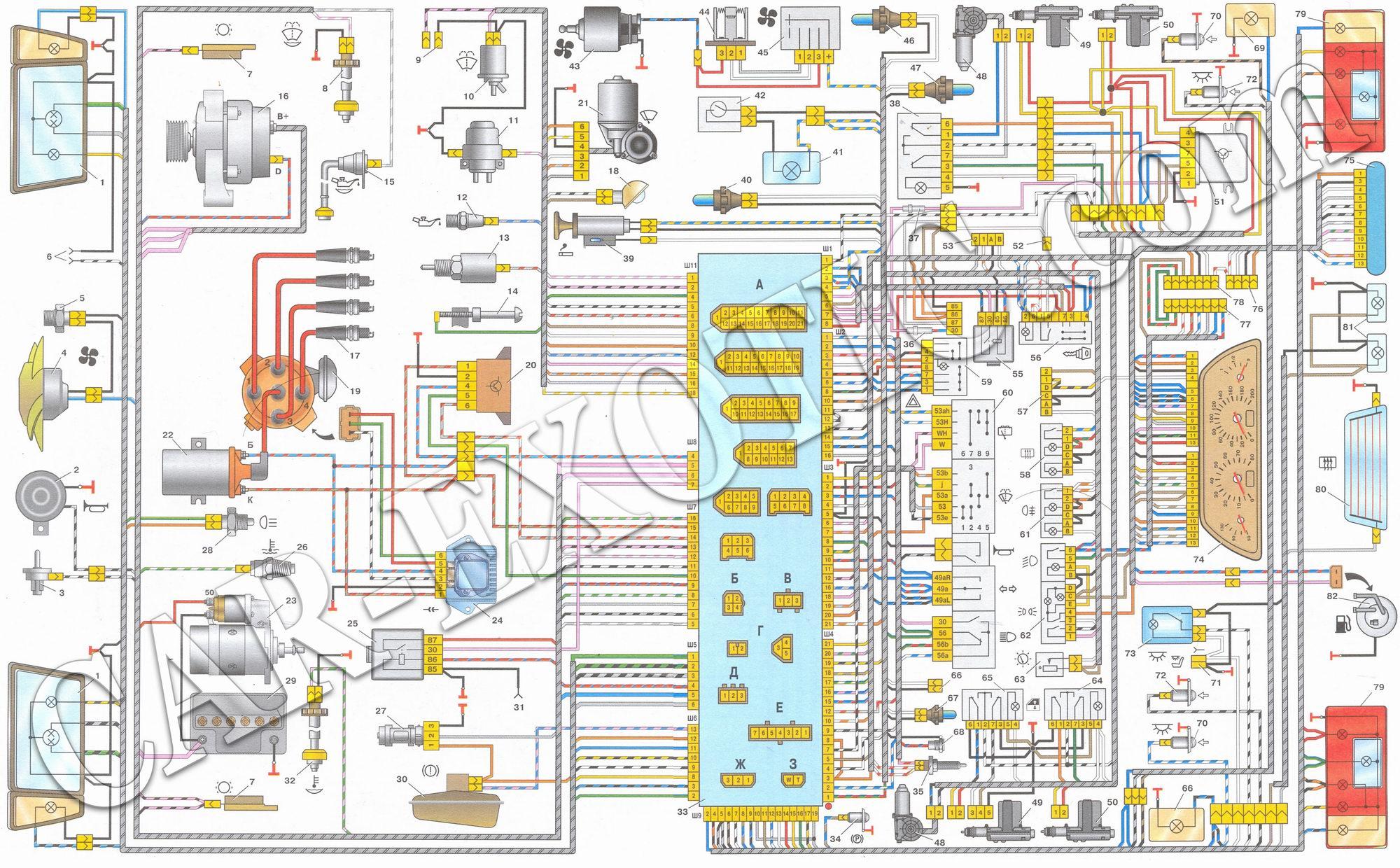 Электрическая схема автомобилей ваз 21099 1998 2000 гг выпуска с
