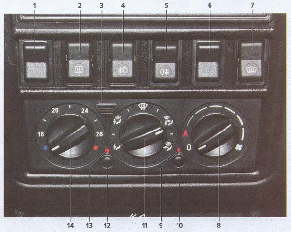 блок кнопок управления отоплением и вентиляцией ГАЗ 31105