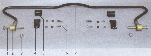 штанга стабилизатора автомобиля Волга ГАЗ 31105 с элементами крепления