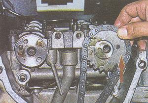 метка на звездочке распределительного вала ГАЗ 31105