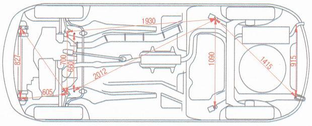 Конторльные точки кузова снизу автомобиля Лада Калина ВАЗ 1118