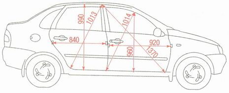 Контрольные размеры проемов дверей Лада Калина ВАЗ 1118