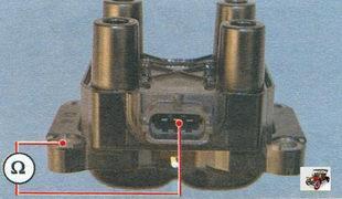 проверка замыкания на «массу» обмоток катушки зажигания Лада Калина ВАЗ 1118