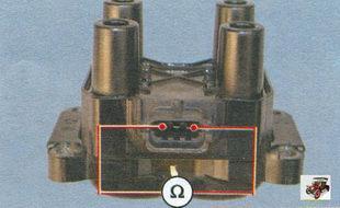 проверка на обрыв первичных цепей катушки зажигания Лада Калина ВАЗ 1118