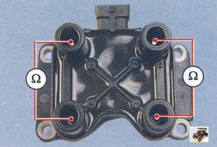 проверка на обрыв вторичных обмоток катушки зажигания Лада Калина ВАЗ 1118