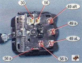 номера контактов подрулевого переключателя указателей поворота и света фар Лада Калина ВАЗ 1118