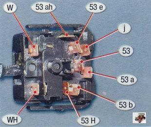 номера контактов подрулевого переключателя очистителя и омывателя ветрового стекла Лада Калина ВАЗ 1118