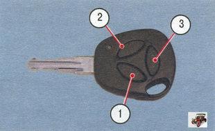 ключ Лада Калина ВАЗ 1118: 1 - кнопка блокировки; 2 - кнопка разблокировки; 3 - кнопка разблокировки замка крышки багажника