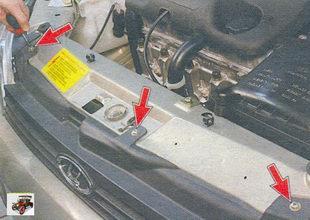 Снятие и установка решетки радиатора Лада Калина ВАЗ 1118