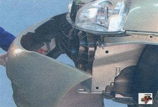 снимите передний бампер с автомобиля Лада Калина ВАЗ 1118