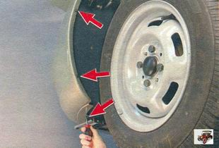 винты крепления кожуха к переднему бамперу Лада Калина ВАЗ 1118
