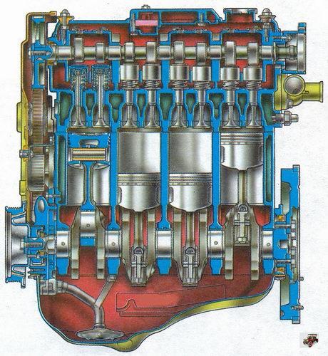 продольный разрез двигателя Лада Калина ВАЗ 1118
