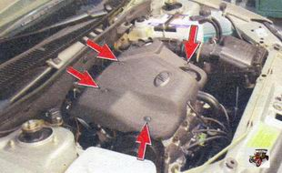 места крепления декоративного кожуха двигателя Лада Калина ВАЗ 1118