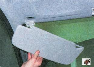 снятие и установка солнцезащитных козырьков Лада Калина ВАЗ 1118