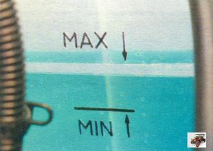 метки охлаждающей жидкости на расширительном бачке Лада Калина ВАЗ 1118