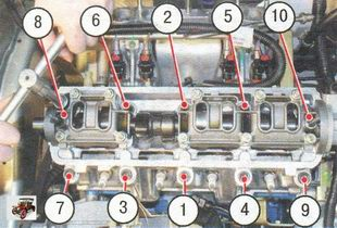 схема затяжки болтов крепления головки блока цилиндров Лада Калина ВАЗ 1118