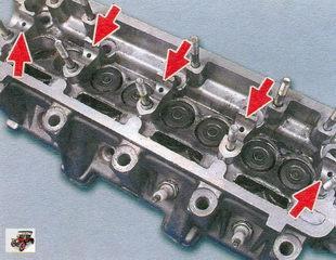 места проверки состояние опорных поверхностей под шейки распредвала на головке блока цилиндров и корпусах подшипников