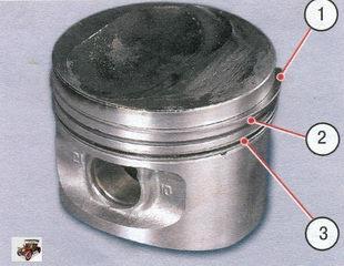 проверка зазоров между поршневыми кольцами и канавками на поршне Лада Калина ВАЗ 1118