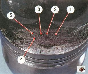данные на днище поршня: 1 - класс поршня по отверстию под палец; 2 - класс поршня по диаметру; 3 - стрелка, показывающая направление установки поршня; 4 - ремонтный размер (1-й ремонтный - треугольник, 2-й ремонтный - квадрат); 5 - группа по массе