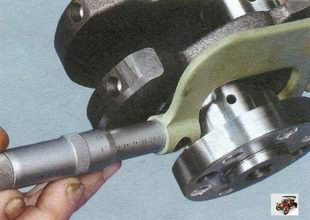 проверка диаметра шеек коленвала Лада Калина ВАЗ 1118