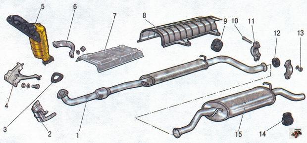 Система выпуска отработавших газов Лада Калина ВАЗ 1118