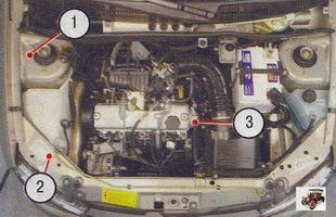 Лада Калина ВАЗ 1118: 1 - идентификационный номер кузова; 2 - идентификационная табличка; 3 - модель и номер двигателя