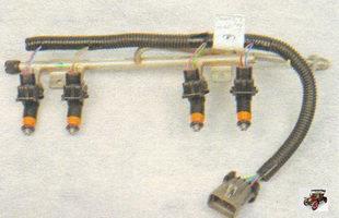 топливная рампа вместе с форсунками и жгутом проводов Лада Калина ВАЗ 1118