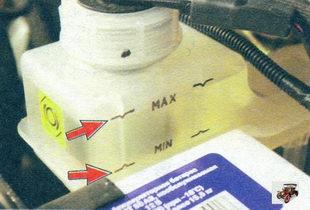 проверка уровеня тормозной жидкости в тормозном бачке Лада Калина ВАЗ 1118