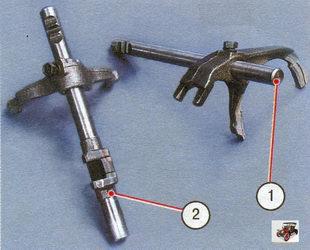 1 - шток с вилкой переключения I-II передач; 2 - шток с вилкой переключения III-IV передач