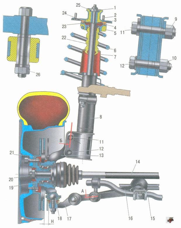 устройство передней подвески автомобиля Лада Калина ВАЗ 1118 в сборе