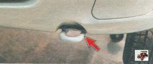 передняя проушина для буксировки автомобиля Лада Калина ВАЗ 1118