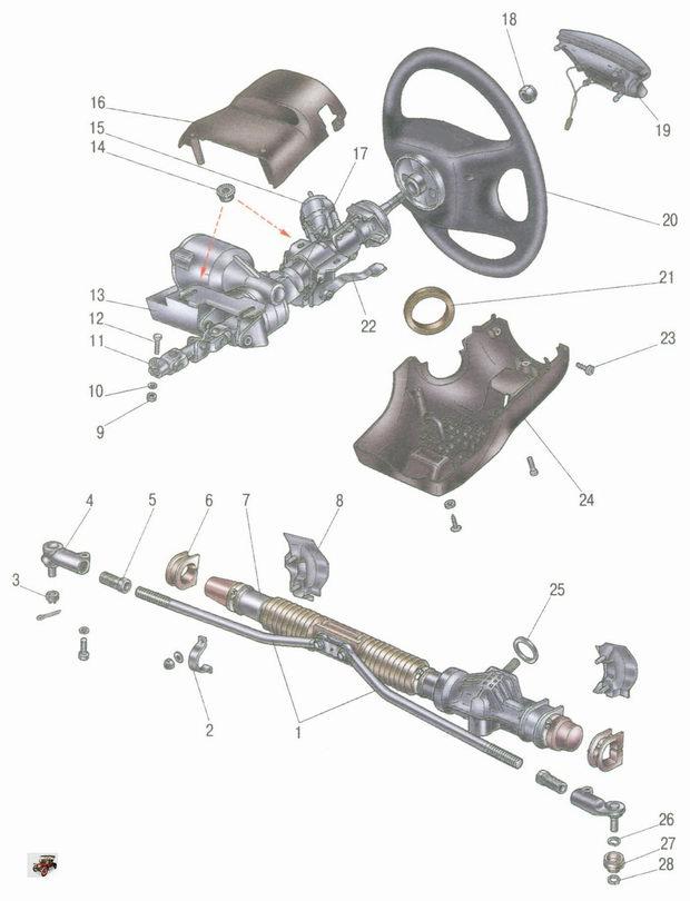 рулевое управление автомобиля Лада Калина ВАЗ 1118