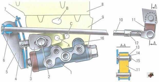 привод регулятора давления тормозов Лада Калина ВАЗ 1118