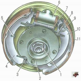 тормозной механизм заднего колеса Лада Калина ВАЗ 1118