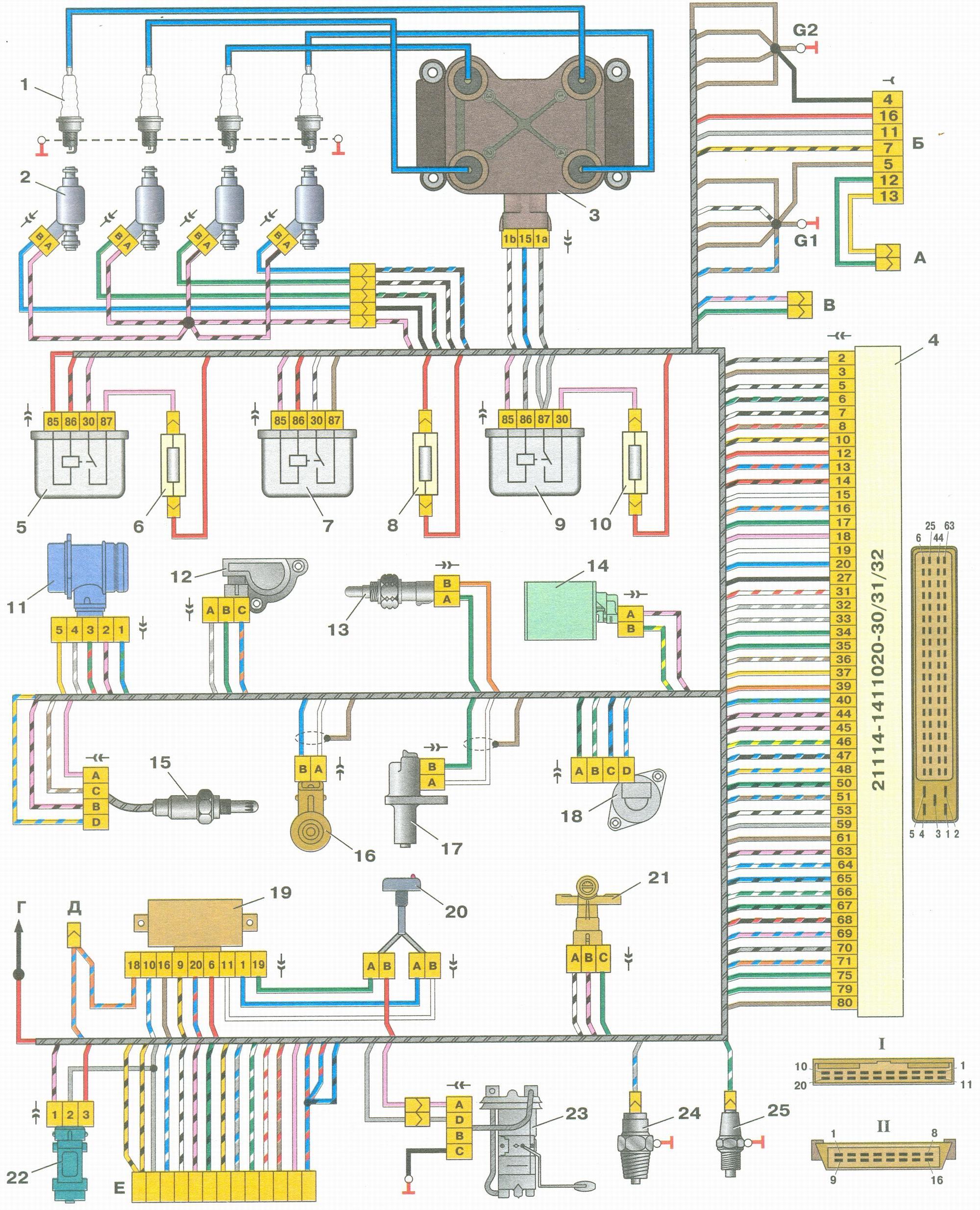 Схема системы управления двигателем ваз 2109