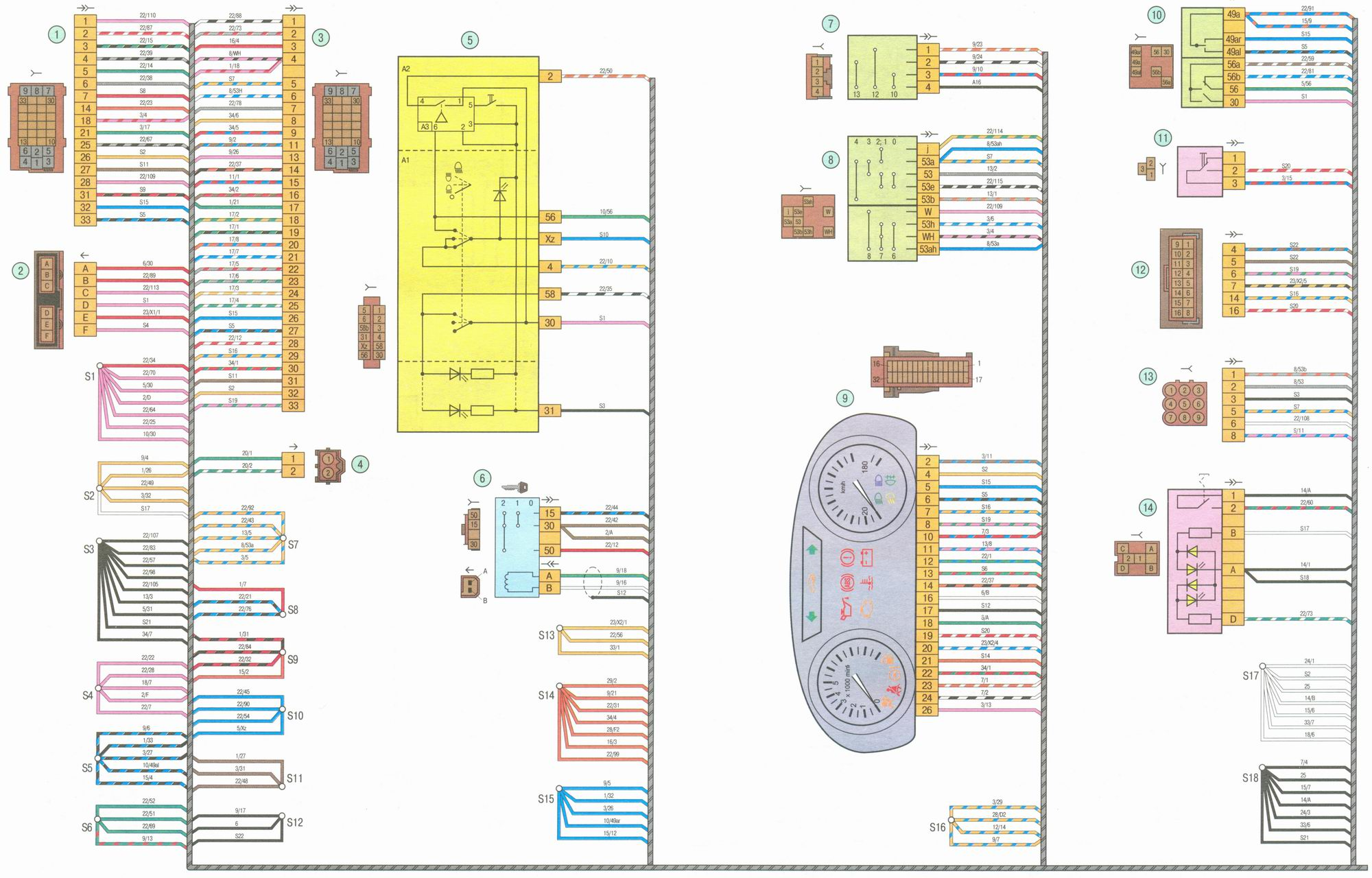 эл. схема комбинации приборов газ 2410