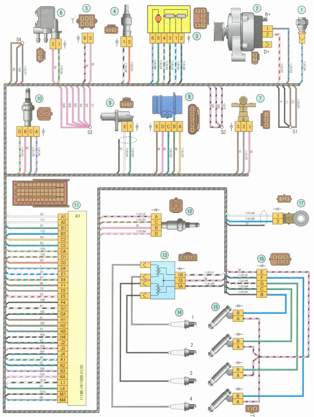 Схема электропроводки ваз гранта
