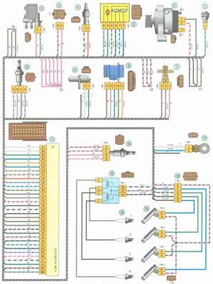Электрическая схема 3. Схема соединения жгута проводов системы управления двигателем на автомобиле Лада Гранта ВАЗ 2190