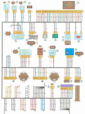 Электрическая схема 4. Схема соединения заднего жгута проводов на автомобиле Лада Гранта ВАЗ 2190