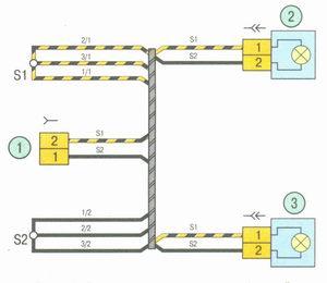 Электрическая схема 8. Схема соединения жгута проводов фонарей освещения номерного знака на автомобиле Лада Гранта ВАЗ 2190