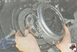 нажимной диск сцепления;  корзина сцепления; ведомый диск сцепления