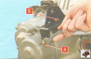 А - гайка, Б - болт крепления кронштейна троса привода сцепления