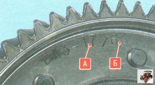 число зубьев ведущей А и ведомой Б шестерен
