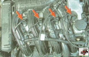 места проверки надежности соединения катушек зажигания и целостность жгутов низковольтной цепи зажигания
