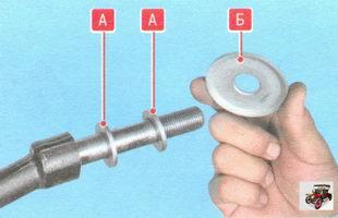 А - регулировочная шайба, Б - передняя упорная шайба