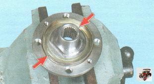 выемки для выпрессовки внутреннего кольца подшипника ступицы