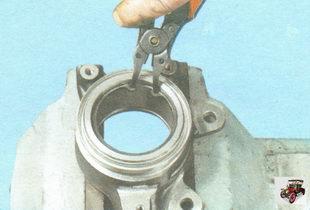 установите наружное стопорное кольцо в поворотный кулак