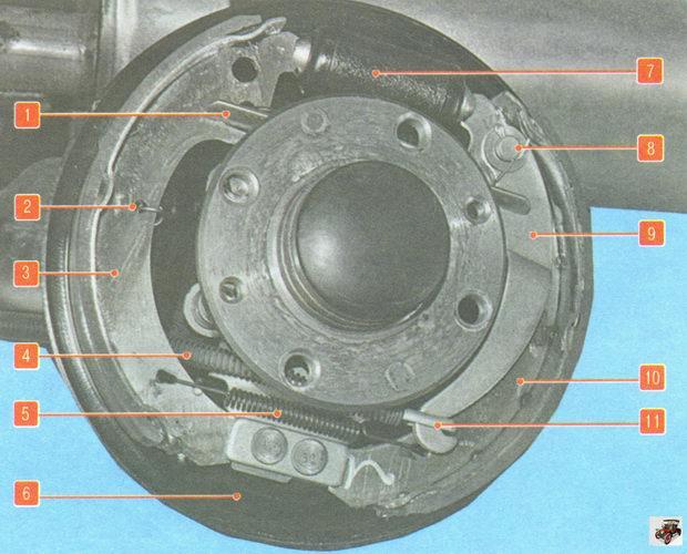 Тормозной механизм заднего колеса автомобиля Лада Гранта ВАЗ 2190