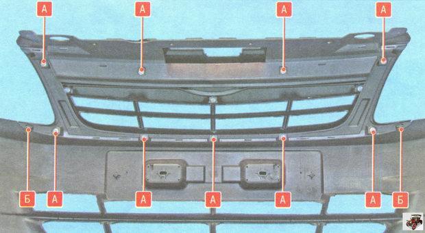 крепление облицовки решетки радиатора Лада Гранта ВАЗ 2190